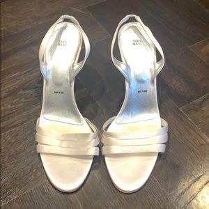 White satin sling-back sandals